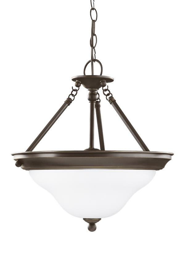 Sussex Three Light Semi-Flush Convertible Pendant